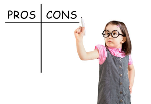 Preschool girl listing pros and cons